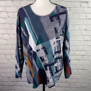 CJ Banks Women's Size 2X Long Sleeve Print Top